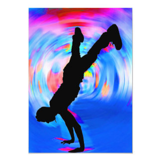 """Street Dancing, Silhouette, Blues/Reds/Pink Shades 5"""" X 7"""" Invitation Card"""