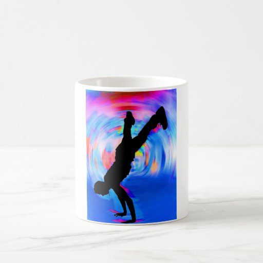 Street Dancing, Silhouette, Blues/Reds/Pink Shades Mug