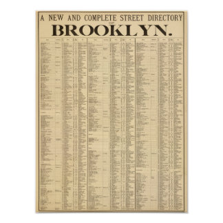 Street directory of Brooklyn 1st page Posters
