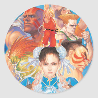 Street Fighter 2 Chun-Li Group Classic Round Sticker