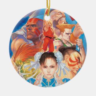 Street Fighter 2 Chun-Li Group Double-Sided Ceramic Round Christmas Ornament