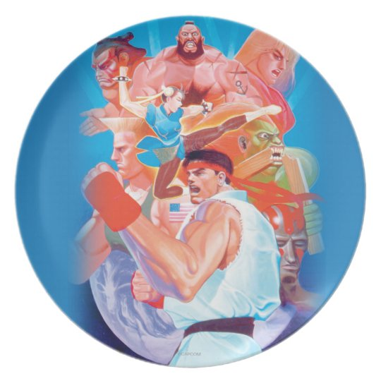 Street Fighter 2 Ryu Group Dinner Plate