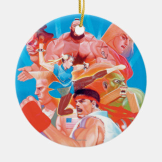 Street Fighter 2 Ryu Group Double-Sided Ceramic Round Christmas Ornament