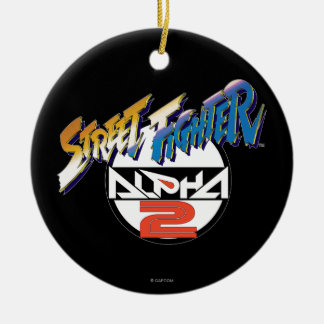 Street Fighter Alpha 2 Logo Double-Sided Ceramic Round Christmas Ornament