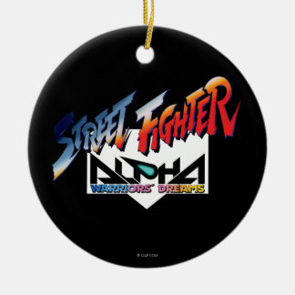 Street Fighter Alpha Logo Double-Sided Ceramic Round Christmas Ornament