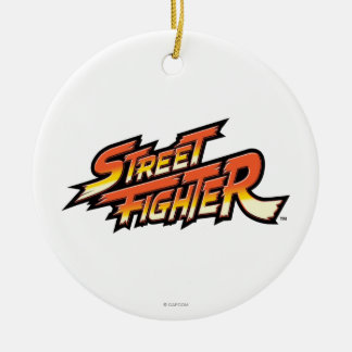 Street Fighter Brand Logo Double-Sided Ceramic Round Christmas Ornament