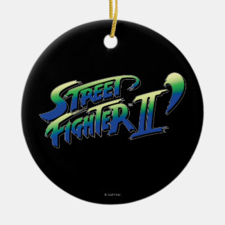 Street Fighter II' Logo Double-Sided Ceramic Round Christmas Ornament