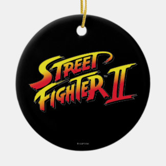 Street Fighter II Logo Double-Sided Ceramic Round Christmas Ornament