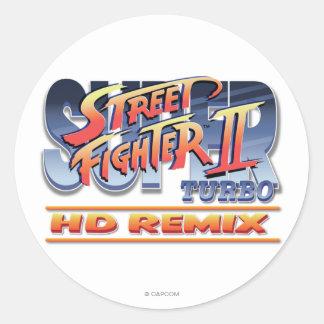 Street Fighter II Turbo HD remezcla el logotipo Etiquetas Redondas