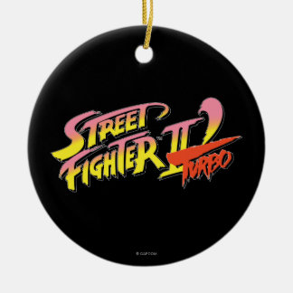 Street Fighter II Turbo Double-Sided Ceramic Round Christmas Ornament