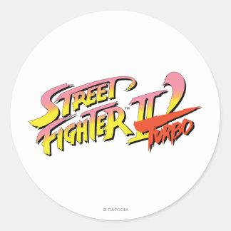 Street Fighter II Turbo Pegatinas Redondas