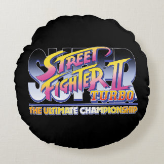 Street Fighter II Turbo UC Logo 2 Round Pillow