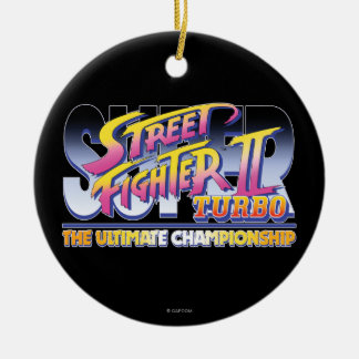 Street Fighter II Turbo UC Logo Double-Sided Ceramic Round Christmas Ornament