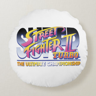 Street Fighter II Turbo UC Logo Round Pillow