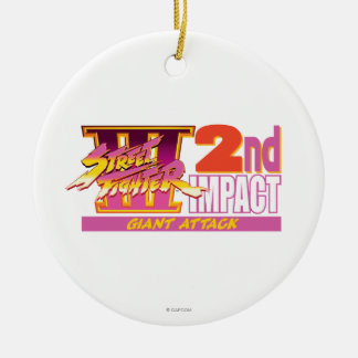 Street Fighter III 2nd Impact Logo Double-Sided Ceramic Round Christmas Ornament