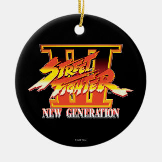 Street Fighter III New Generation Logo Double-Sided Ceramic Round Christmas Ornament