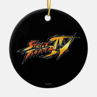 Street Fighter IV Logo Double-Sided Ceramic Round Christmas Ornament