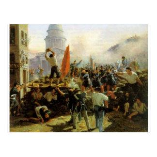 Street Fighting on Rue Soufflot, Paris Postcard