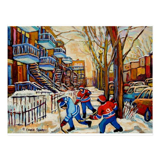 Street Hockey with 3 boys Postcard