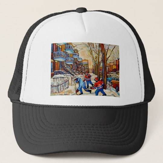 Street Hockey with 3 boys Trucker Hat