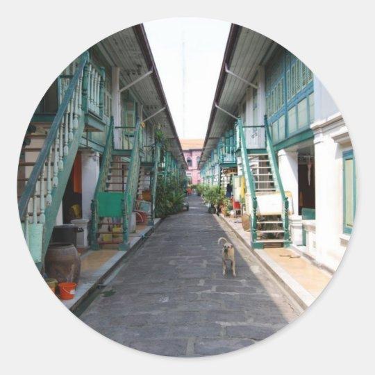 Street in Bangkok Classic Round Sticker
