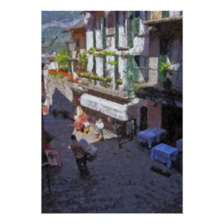 Street in Bellagio, Lake Como Poster