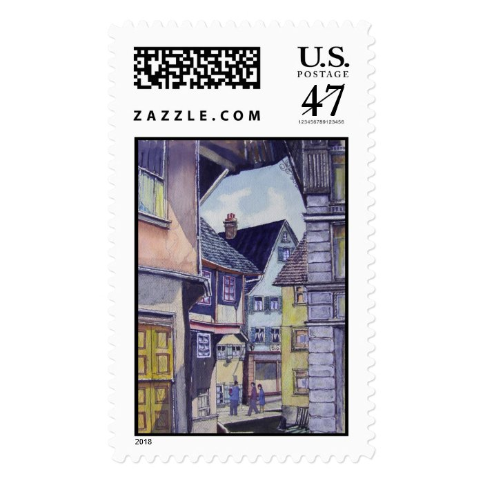 Street in Downtown Europe-stamps Postage Stamp