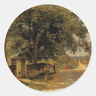 Street in Nassau by Albert Bierstadt Classic Round Sticker