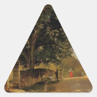 Street in Nassau by Albert Bierstadt Triangle Sticker