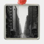 Street in NY city B&W Christmas Ornaments