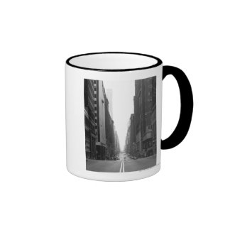 Street in NY city B&W Ringer Mug