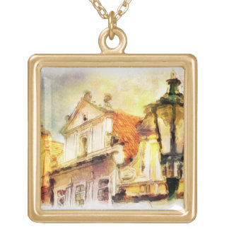 Street in old part of prague square pendant necklace