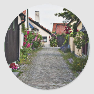 Street in old Visby Sweden Classic Round Sticker