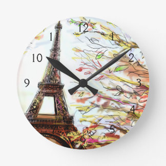 Street In Paris - Illustration 2 Round Clock