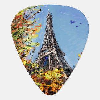 Street In Paris - Illustration Guitar Pick