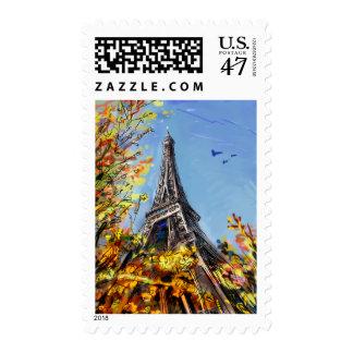 Street In Paris - Illustration Stamp