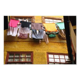 Street in Porto with laundry Photo Print