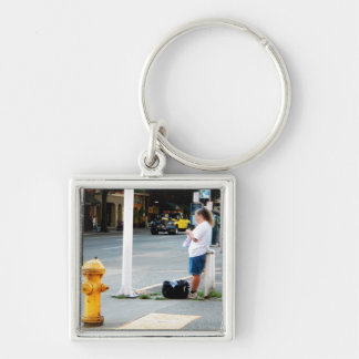 Street Knitter Silver-Colored Square Keychain