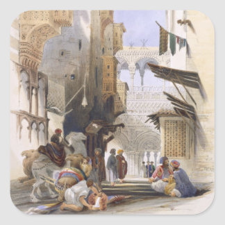Street Leading to El Azhar, Grand Cairo, pub. 1846 Square Sticker