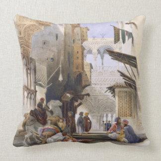 Street Leading to El Azhar, Grand Cairo, pub. 1846 Throw Pillow