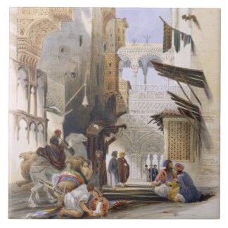 Street Leading to El Azhar, Grand Cairo, pub. 1846 Tile