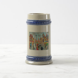 Street Life busy nostalgic tram city scape oil Beer Stein