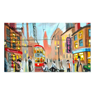 Street Life busy nostalgic tram city scape oil Business Card