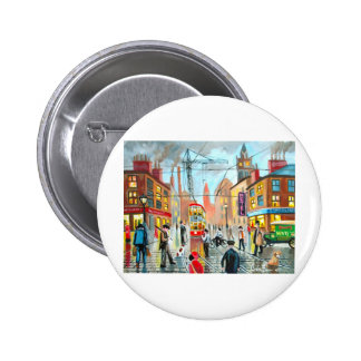 Street Life busy nostalgic tram city scape oil Pinback Buttons