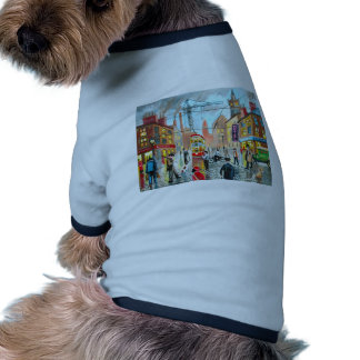 Street Life busy nostalgic tram city scape oil Dog Clothing