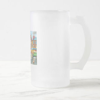 Street Life busy nostalgic tram city scape oil Frosted Glass Beer Mug