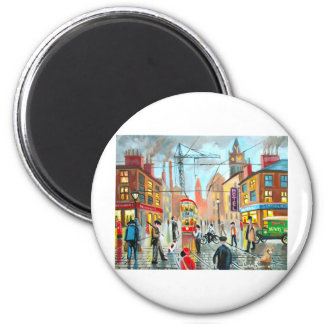 Street Life busy nostalgic tram city scape oil 2 Inch Round Magnet