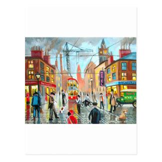 Street Life busy nostalgic tram city scape oil Postcard