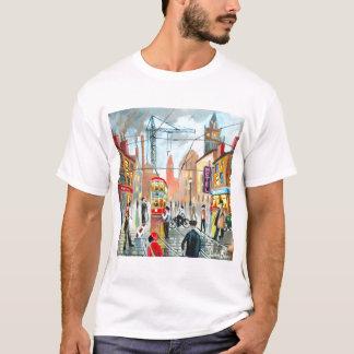 Street Life busy nostalgic tram city scape oil T-Shirt