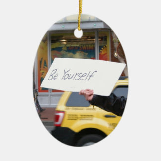 Street Life Double-Sided Oval Ceramic Christmas Ornament